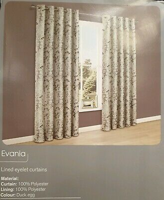 £36 • Buy Colours 'Evania' Floral Lined Eyelet Curtains W117xD137cm  Duck-egg