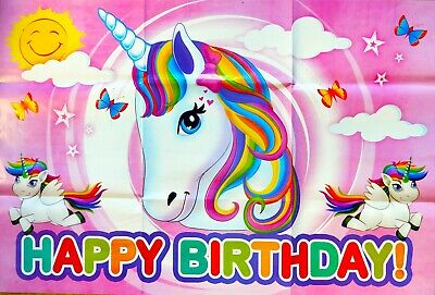 AU13 • Buy Unicorn Enchanted Happy Birthday Party Poster Banner - Party Supplies Decoration