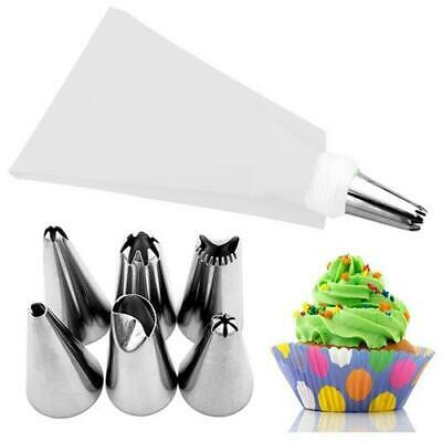 £2.88 • Buy *UK Seller* Silicone Icing Piping Bag + 6 Nozzles Tips Set Cake Cupcake Decorate