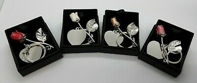 AU11.29 • Buy Personalised Valentines Day Silver Plated Rose Key Ring, Engraved Gifts For Her