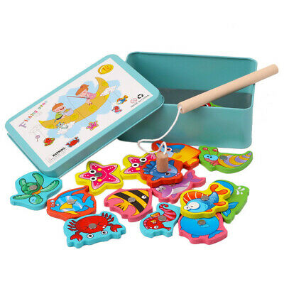 £6.79 • Buy 15PC Fish Wooden Magnetic Fishing Toy Set Fish Game Educational Fishing Toy W