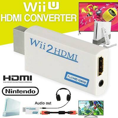 Wii Input To HDMI 1080P HD Audio Output Converter Adapter Cable Jack Audio 3.5mm • 3.96£