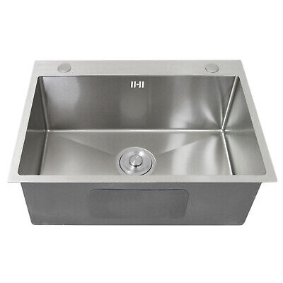Kitchen Sink Stainless Steel Square Brushed Handmade Commercial Single Bowl • 84.99£