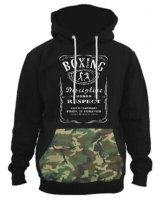 $34.99 • Buy Men's Boxing Whiskey Label Black Pullover Hoodie PLY P4 Camo Army Kickboxing MMA