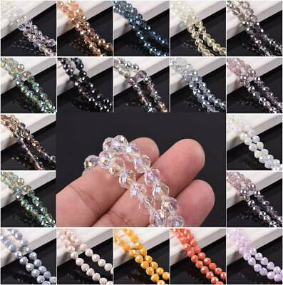 20pcs 8mm Crystal Glass Faceted Teardrop Ball Loose Craft Beads Jewellery Making • 1.99£