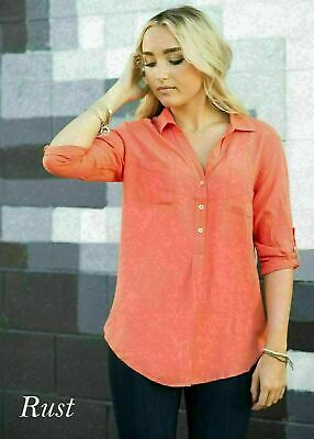 $5.99 • Buy Women's Henley 3/4 Sleeve Shirt Button Down V-Neck Front Coral S