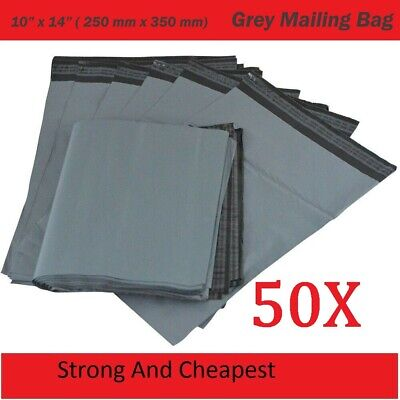 50 Strong Grey Mailing Bags 10 X 14  Parcel Postage Plastic Post Poly Self Seal • 3.69£