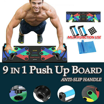 AU19.79 • Buy 9 In1 Push Up Board Yoga Bands Fitness Workout Train Gym Exercise Pushup Stands