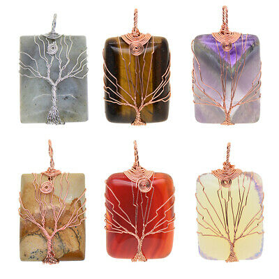 Tree Of Life Wire Wrapped Pendant Crystal Necklace Gemstone Jewelry Making • 4.46£