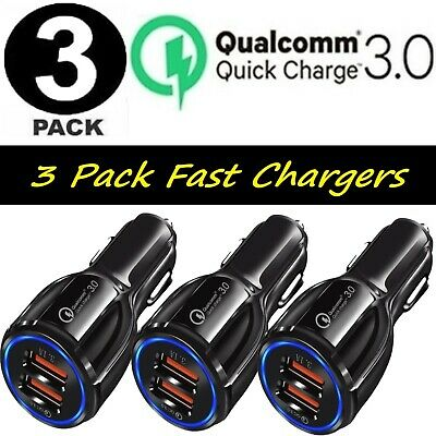 $ CDN13.74 • Buy 3 Pack 2 USB Port Fast QC 3.0 Car Charger For IPhone Samsung Android Cell Phone