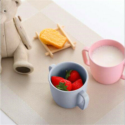Children Double Handle Tea Cup Pure Color Cups Plastic Tableware Kids Supply ONE • 3.72£