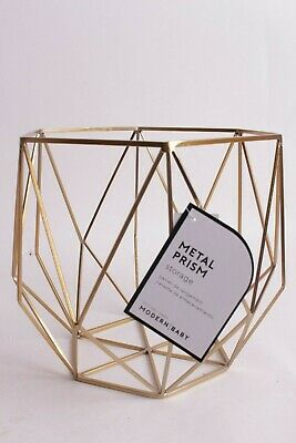 $19.95 • Buy NWT Pottery Barn Kids Gold Metal Prism Storage Basket Bin Small 10  X 10  X 8