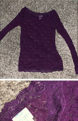 $ CDN39.77 • Buy Free People Purple Scandalous Sheer Lace Top ASO Violet Harmon