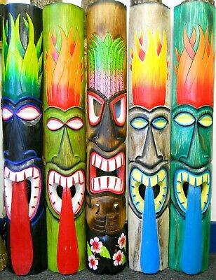 Amazing Carving Wooden TIKI MASK 100cm NEW DESIGN Wall Decoration Multicoloured  • 31.99£