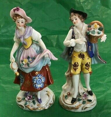 $ CDN197 • Buy Pair Baroque-style Porcelain Miniature Figurines (lady And Gentleman Courting)