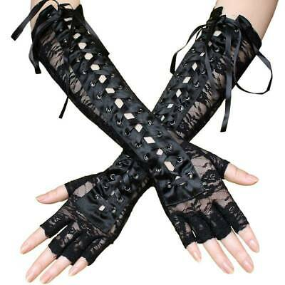 Gothic Women Long Gloves Lace Ribbon Tie Up Gothic Mittens Wrist Gloves ONE • 4.61£