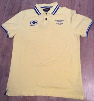 Aston Martin Racing By Hackett Yellow Polo Shirt Size M / Medium Nwot • 28£