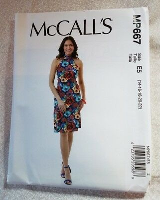 McCalls MP667 Sewing Pattern Misses Dress High Low Hem Plus Size 14-22 • 1.80£