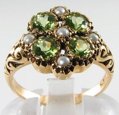 £269 • Buy Large 9k 9ct Gold Art Deco Ins  Peridot & Pearl Cluster Ring Free Resize 999