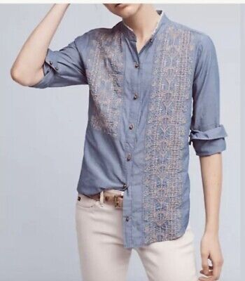 $ CDN38.43 • Buy Anthropologie Tiny Brand Large Blue Embroidered Shirt Button Up Ruffle Collar
