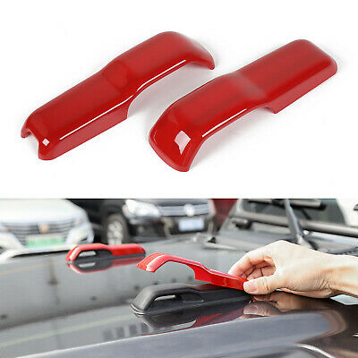 $12.99 • Buy 2pcs Hood Hinge Cover Decoration Stickers Trim For Jeep Wrangler JL JT 18+ Red