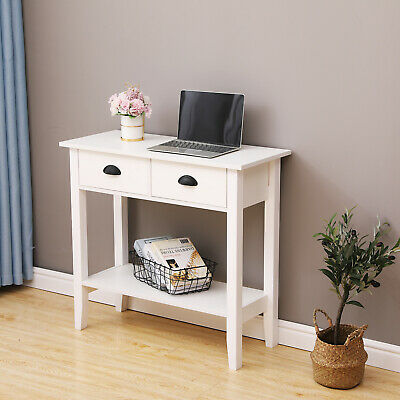 White Console Table 2 Drawer W/Shelf Dressing Table Hallway Hall Table Furniture • 57.99£