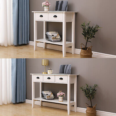 White Console Table W/Drawers&Shelf Dressing Table Hallway Hall Table Furniture • 69.99£