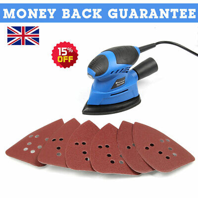 Electric Detials Sander Small Handheld Sanding Machine 6pc Sanding Sheets 130W • 21.66£