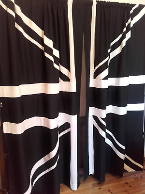 Union Jack Curtains  Black And White • 100£