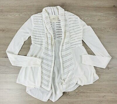 $ CDN38.43 • Buy Angel Of The North Anthropologie Cardigan Knit Crochet Long Sleeve Ivory XS