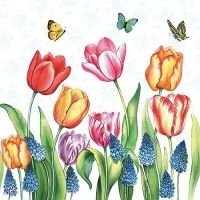 Tulips And Muscari 4 Napkins 33x33cm Decoupage Paper Table Easter BUY4 GET 1FREE • 1.23£