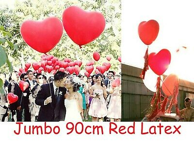 AU2.50 • Buy Valentines Day Jumbo 90cm Red Heart Latex Balloon Love Anniversary