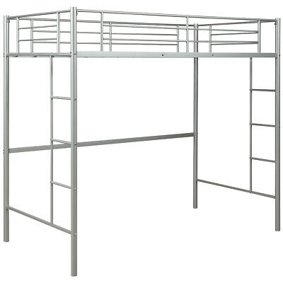 3FT Single Loft Bed High Sleeper Twin Cabin Bed Metal Bunk Bed Frame W/ Ladders • 125.95£
