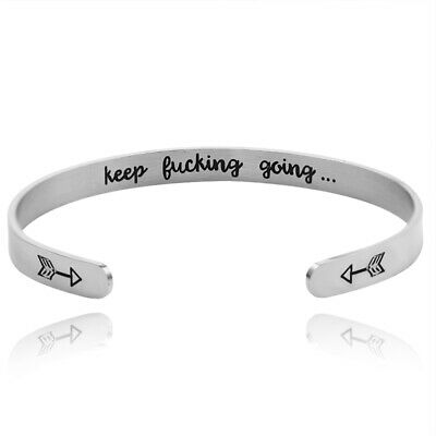 £3.59 • Buy Keep Fucking Going Bracelet Letter Open Cuff Bangle Adjustable Jewelry Charms