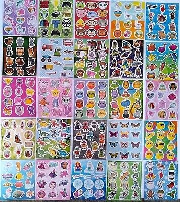 6 Packs Childrens Kids Sticker Sheets Party Bag Fillers  Choose From 34 Designs • 1.49£