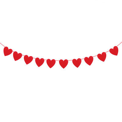 2.5M Red Love Heart Bunting Banners Garland Engagement Wedding Party Decor Prop • 2.99£