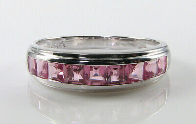 £249 • Buy 9k 9CT WHITE GOLD PINK TOURMALINE ART DECO INS ETERNITY CHANNEL SET RING