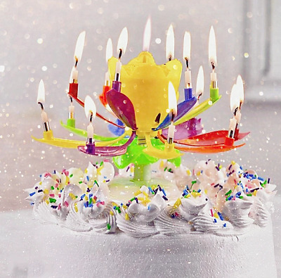 $ CDN26.64 • Buy Upgrade Multicolor Rotating Lotus Cake Candle 2PCS