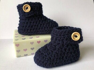 Crochet Knitted Baby Bootees Boots Booties Shoes 0 - 12 Months - Navy Blue • 6.95£
