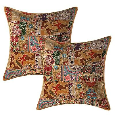 AU42.71 • Buy Bohemian Sofa Cushion Covers 60 X 60 Cm Large Patchwork Set Of 2 Pillow Covers