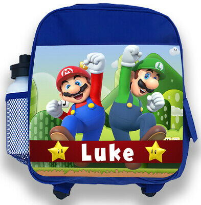 Personalised Kids Blue Backpack Any Name Mario Bros Boys Childrens School Bag • 14.95£