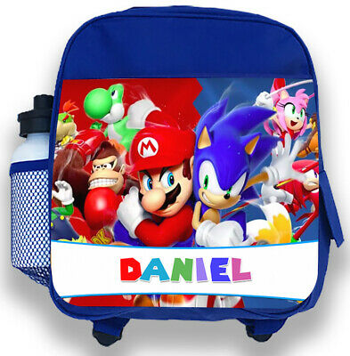 Personalised Kids Blue Backpack Any Name Mario & Sonic Boys Childrens School Bag • 14.95£