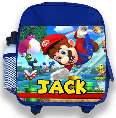 Personalised Kids Blue Backpack Any Name Mario Bros Boys Childrens School Bag 1 • 14.95£