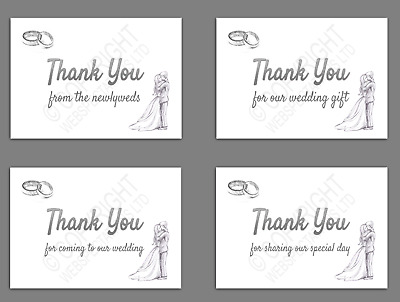 £3.99 • Buy 1-100 Wedding Thank You Cards Newlyweds Coming To Our Wedding Gift Table Favours