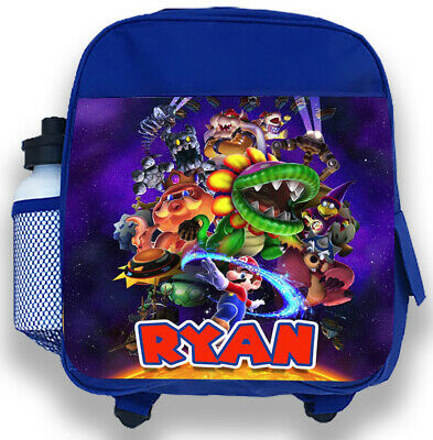 Personalised Kids Blue Backpack Any Name Super Mario Boys Childrens School Bag 2 • 14.95£
