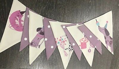 LAURA ASHLEY BUNTING  - DOUBLE SIDED Girls Pets Pink And Purple Polka Dot Fabric • 11.50£