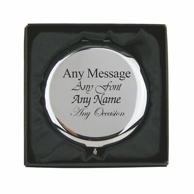 Personalised Engraved Silver Round Compact Mirror, Gift Boxed • 12.95£