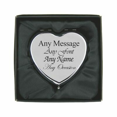 Personalised Engraved Silver Heart Shaped Compact Mirror, Gift Boxed • 12.95£