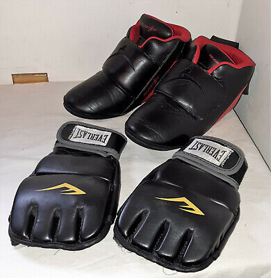 $33.99 • Buy Ringstar Inc. Foot Guards Black Red Sparring Shoes & Everlast Ever Fresh Gloves