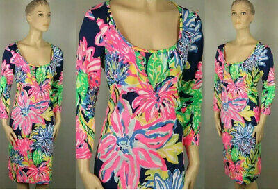 "$45.99 • Buy Designer ""Lilly Pulitzer"" Bright Floral Pima Cotton Knit Stretch Shift Dress,L"